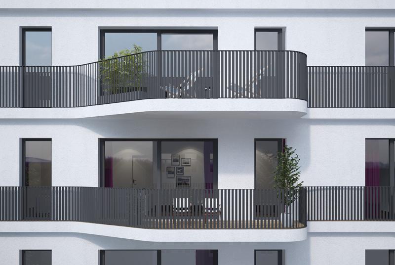 Fenster außen modern  Außen auffällig und modern - Dolziger Bogen - CARISMA Wohnbauten GmbH